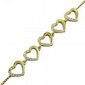 دستبند نقره قلبی طرح عشق زنانه