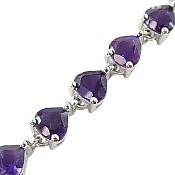 دستبند نقره آمتیست فاخر طرح محبوب زنانه