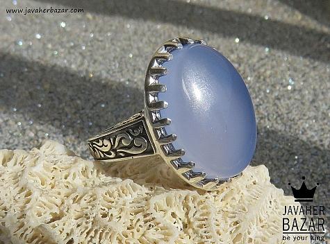 انگشتر نقره عقیق کبود شاهانه مردانه - 46932