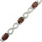 دستبند نقره گارنت فاخر طرح پرنسس زنانه