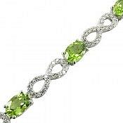 دستبند نقره زبرجد طرح ملکه زنانه