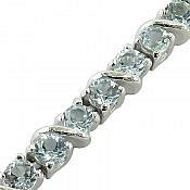 دستبند نقره توپاز آبی فاخر زنانه