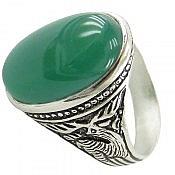 انگشتر نقره عقیق سبز طرح گوزن مردانه