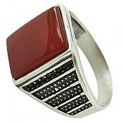 انگشتر نقره عقیق قرمز کلاسیک مردانه