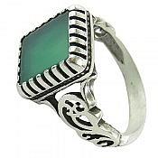 انگشتر نقره عقیق سبز طرح کمیل مردانه
