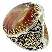 انگشتر نقره عقیق سلیمانی رکاب یا فاطمه مردانه
