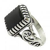 انگشتر نقره عقیق سیاه طرح کمیل مردانه