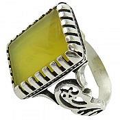 انگشتر نقره عقیق شرف الشمس طرح چهارگوش مردانه