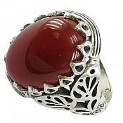 انگشتر نقره عقیق قرمز دور اشکی مردانه