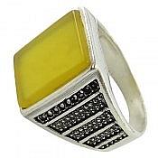 انگشتر نقره عقیق شرف الشمس کلاسیک مردانه