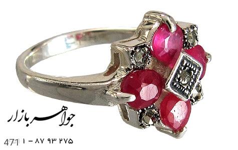 انگشتر نقره یاقوت زنانه - 471