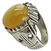 انگشتر نقره عقیق یمن شرف الشمس طرح سنتی مردانه