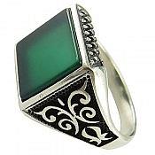 انگشتر نقره عقیق سبز طرح کاوه مردانه