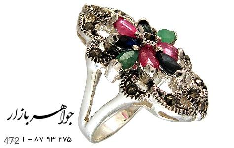 عکس انگشتر نقره یاقوت و زمرد طرح گل زنانه