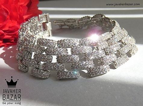 دستبند نقره جواهری لوکس زنانه