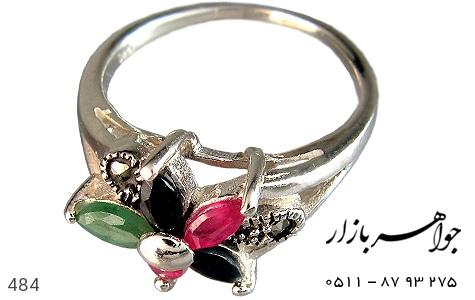 انگشتر نقره یاقوت و زمرد طرح گل زنانه - 484