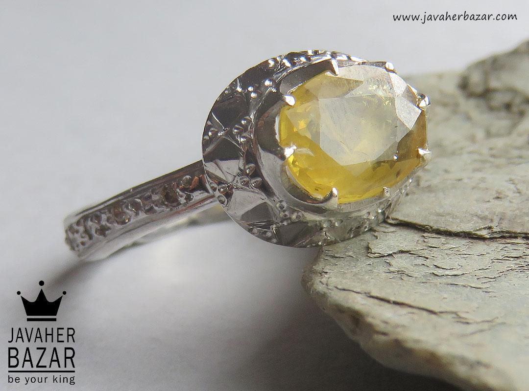 تصویر عکس خرید ، قیمت و خواص انگشتر یاقوت زرد زنانه اصل