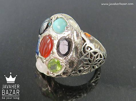 انگشتر نقره چندنگین مردانه دست ساز
