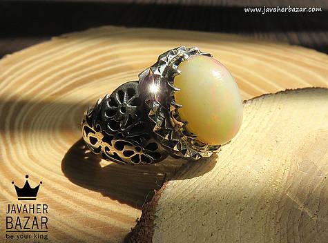 انگشتر نقره اپال سلطنتی مردانه دست ساز