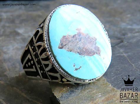 انگشتر نقره فیروزه نیشابوری میکرو ستینگ طرح کیارش مردانه - 49693