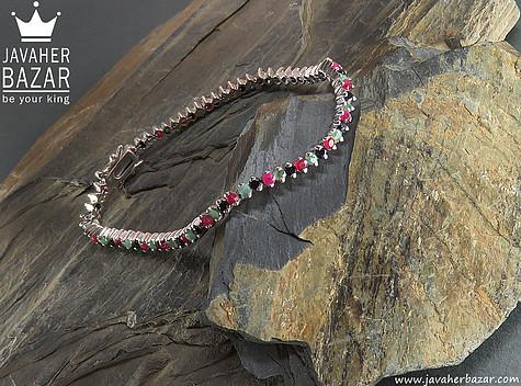 دستبند نقره زمرد و یاقوت سرخ طرح اشرافی زنانه