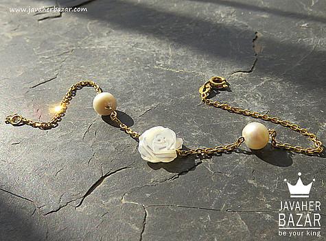 دستبند نقره مروارید طرح گلسا زنانه