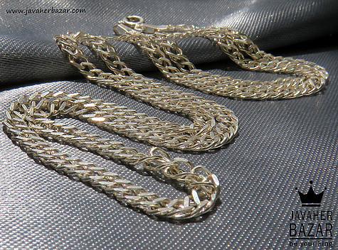 زنجیر نقره 49 سانتی طرح کارتیر دوبل