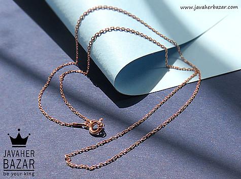 زنجیر نقره 45 سانتی حلقه ای ظریف رزگلد زنانه