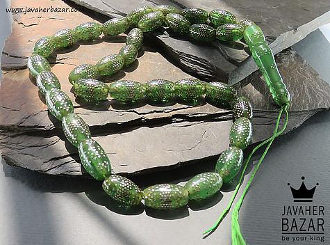 تسبیح سندلوس 33 دانه سبز نقره کوب فاخر - 52098