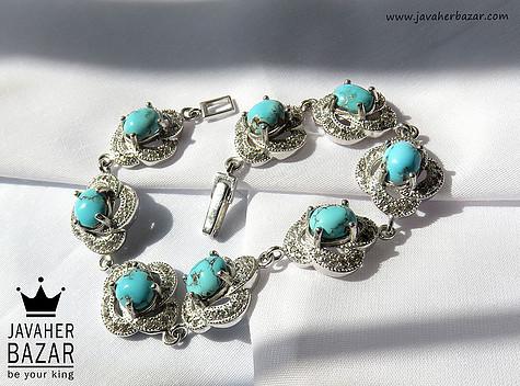 دستبند نقره فیروزه نیشابوری طرح سلطنتی زنانه