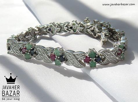 دستبند نقره زمرد و یاقوت طرح اشرافی زنانه