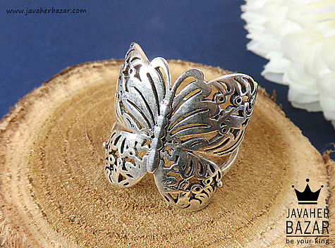 انگشتر نقره طرح پروانه زنانه