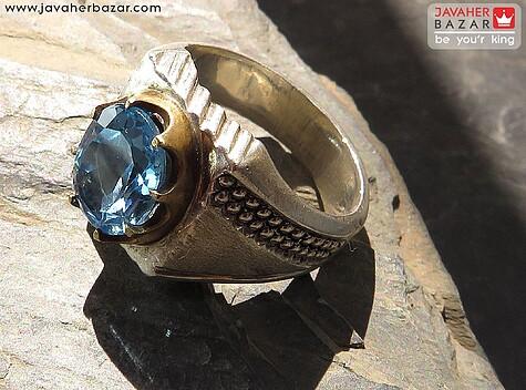 انگشتر نقره توپاز سوئیس شاهانه مردانه - 53113