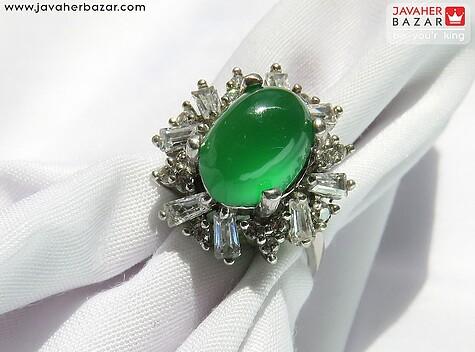 انگشتر نقره عقیق سبز زنانه