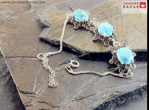 دستبند نقره فیروزه ایرانی طرح ساره زنانه