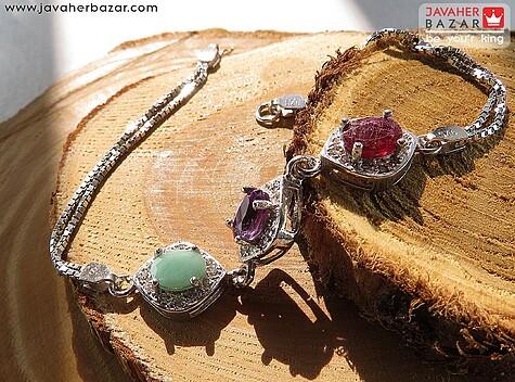 دستبند نقره آمتیست و یاقوت و زمرد آفریقایی فاخر زنانه
