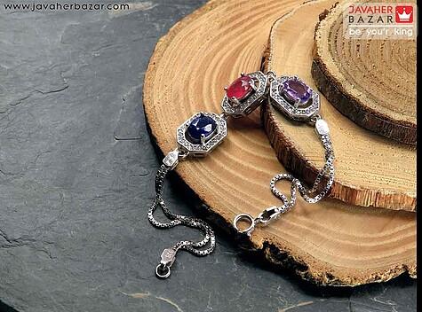 دستبند نقره آمتیست و یاقوت طرح گیتی زنانه
