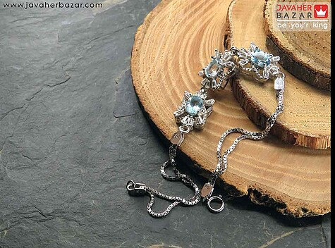 دستبند نقره توپاز طرح غزاله زنانه