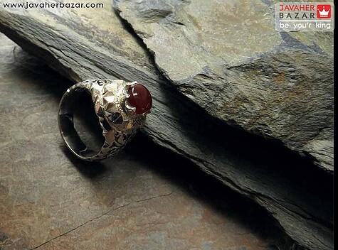 انگشتر نقره عقیق یمن طرح سلطنتی مردانه دست ساز