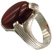 انگشتر نقره عقیق قرمز درشت دست ساز