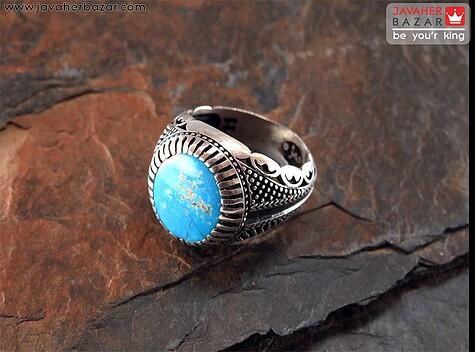 انگشتر نقره فیروزه نیشابوری مردانه دست ساز