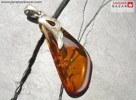 مدال نقره کهربا بولونی لهستان عسلی رنگ - 53913