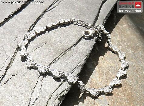 دستبند نقره طرح گلسا زنانه