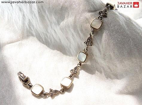 دستبند نقره صدف طرح مهتاب زنانه