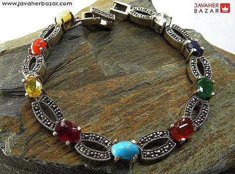 دستبند نقره چندنگین طرح اشرافی زنانه