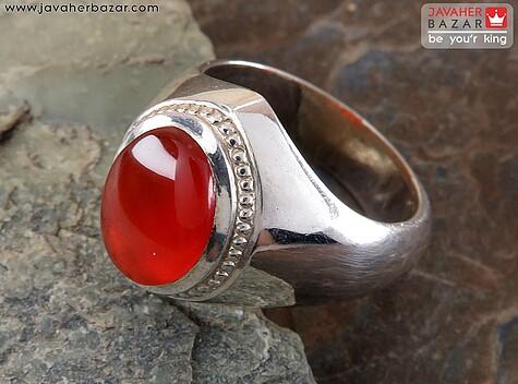 انگشتر نقره عقیق یمن شاهانه مردانه دست ساز