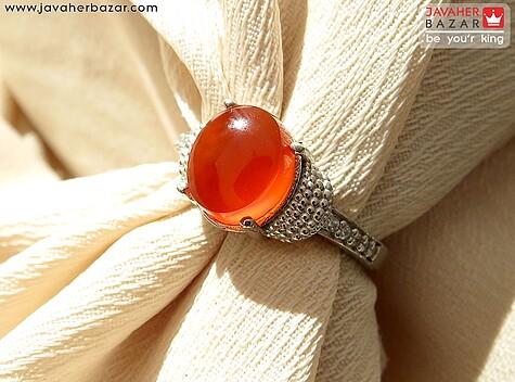 انگشتر نقره عقیق یمن طرح نیایش زنانه