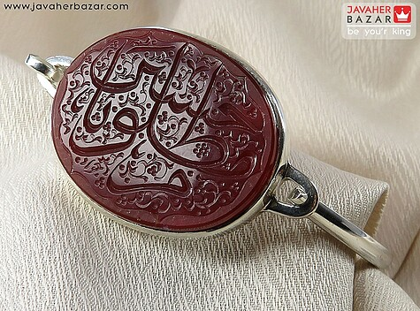 دستبند نقره عقیق حکاکی یا حسین مظلوم مردانه - 54438