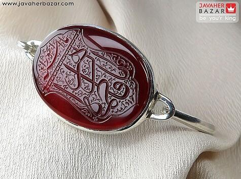 دستبند نقره عقیق حکاکی یا فاطمه الزهرا مردانه