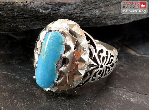 انگشتر نقره فیروزه نیشابوری خوش طبع و دورچنگ مردانه دست ساز